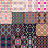 Vector seamless texture. Set of tribal colorful patterns for design. Electro boho color trend. Aztec ornamental style. Ethnic native american indian ornaments vector illustration