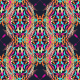 Vector seamless texture. Tribal geometric pattern. Electro boho color trend. Aztec ornamental style Stock Photography