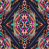 Vector seamless texture. Tribal geometric pattern. Electro boho color trend. Aztec ornamental style Stock Image