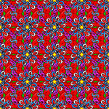 Vector seamless texture. Seamless vintage pattern on colorful doodles background Royalty Free Stock Photo