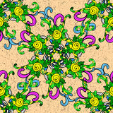 Vector seamless texture. Seamless vintage pattern on colorful floral doodles background Royalty Free Stock Photo