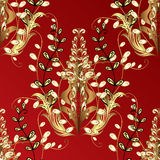 Vector seamless texture. Seamless vintage pattern on red background with golden elements Stock Photos
