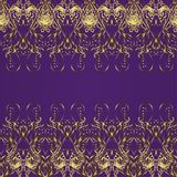 Vector seamless texture. Seamless wallpaper pattern in vintage style on lilac background with golden doodles Stock Image