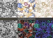Vector seamless thread pattern set. . Abstract colour rope pattern. stock illustration