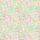 Vector Seamless Tileable Easter Background Pattern with Flowers. And Bunnies Royalty Free Stock Photo
