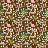 Vector Seamless Tileable Easter Background Pattern with Flowers Royalty Free Stock Images