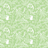 Vector Seamless Tileable Easter Background Pattern with Flowers. And Bunnies Royalty Free Stock Photography