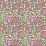 Vector Seamless Tileable Easter Background Pattern with Flowers. And Bunnies Royalty Free Stock Images