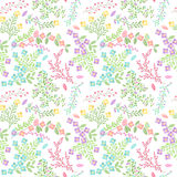 Vector Seamless Tileable Easter Background Pattern with Flowers. And Bunnies Stock Photos