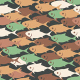 Vector seamless tiling pattern background with abstract fish with round dots. Vintage sea texture Royalty Free Stock Images