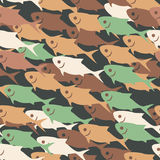 Vector seamless tiling pattern background with abstract fish with round dots. Vintage sea texture. Eps-8 Royalty Free Stock Images