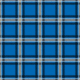 Vector seamless tiling pattern with checked black and blue tartan plaid ornament. Stock Photography