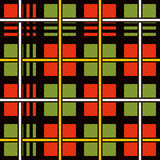 Vector seamless tiling pattern with checked red and green tartan plaid ornament. Royalty Free Stock Photos