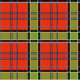 Vector seamless tiling pattern with checked red and green tartan plaid ornament. Royalty Free Stock Images