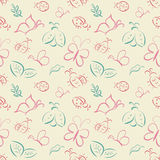 Vector seamless tiling pattern with hand drawn butterflies and l Stock Photo