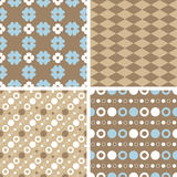 Vector seamless tiling patterns - blue and brown Stock Photo