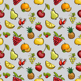 Vector seamless tiling patterns - fruits and berries. Stock Photo