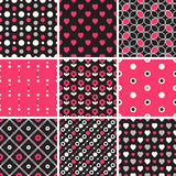 Vector seamless tiling patterns - geometric, polka dot, hearts Royalty Free Stock Photo