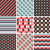 Vector seamless tiling patterns - geometric Royalty Free Stock Images