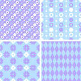 Vector seamless tiling patterns - purple and blue Stock Image