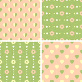 Vector seamless tiling patterns - romantic flowers Stock Image