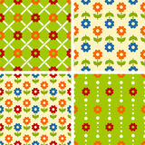 Vector seamless tiling patterns - romantic flowers Royalty Free Stock Photos