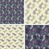 Vector seamless tiling patterns - sketch flowers Royalty Free Stock Photo