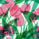 Vector seamless transparent tulip pattern stock illustration