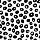 Vector seamless trendy modern brush spot pattern. Monochrome mes. Sy ink polka dot. Hand drawn artistic circle scriblle print. Great for background, wrapping stock illustration