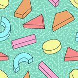 Vector seamless trendy pattern with colorful geometric 3d shapes - bright memphis design. Retro fashion style 80-90s. Abstract decorative curve background royalty free illustration