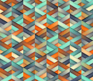 Vector Seamless Triangle Grid Teal Orange Color Shades Gradient Geometric Pattern Stock Photos