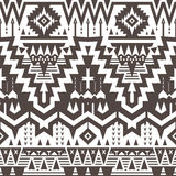 Vector Seamless Tribal Pattern. Geometrical Black and White Ethnic Background with Triangles and Stripes stock illustration