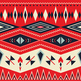 Vector Seamless Tribal Pattern. Geometrical Color Ethnic Background with Triangles, Squares and Stripes Stock Images