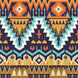 Vector Seamless Tribal Pattern. Stylish Art Ethnic Print Ornament with Triangles, Chevrons, Rhombuses and Stripes vector illustration