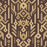 Vector Seamless Tribal Pattern in Wooden Style stock illustration