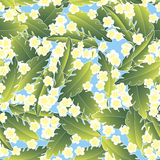 Pattern with palm and flowers Stock Images