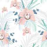 Vector seamless tropical pattern, with paradise beige orchid flower in bloom with tropical greenery. Modern summer spring print design. White background stock illustration