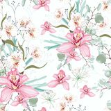 Vector seamless tropical pattern, with paradise orchid flower in bloom. royalty free illustration