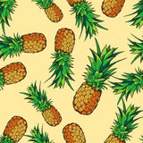 Vector seamless tropical pattern with pineapples. Tasty fruit fresh illustration Stock Photo