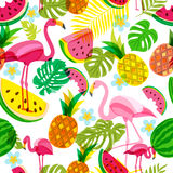 Vector seamless tropical pattern with pink flamingo, palm leaves, watermelon and pineapples. Summer illustration. Vector seamless tropical pattern with pink Royalty Free Stock Images
