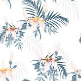 Vector seamless tropical pattern, vivid tropic foliage, with palm leaves, tropical pink hibiscus flower in bloom. Vector seamless tropical pattern, vivid tropic royalty free illustration
