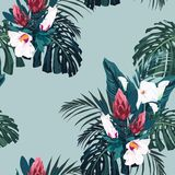 Vector seamless tropical pattern, vivid tropic foliage, with palm monstera, bananas leaves and hibiscus flowers. Modern bright summer print design. Vintage Stock Illustration