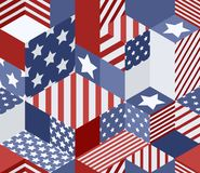 Vector seamless USA flags pattern. 3d isometric cubes background in american flag colors. Geometric patchwork illustration Royalty Free Stock Image