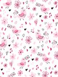Vector seamless valentine`s day love pattern from doodle hand drawn birds, hearts and flowers Vector Illustration