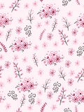 Vector seamless valentine`s day love pattern from doodle hand drawn branches and flowers.  stock illustration