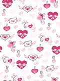 Vector seamless valentine`s day love pattern from doodle hand drawn hearts, envelopes and flowers.  stock illustration