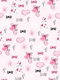 Vector seamless valentine`s day pattern from doodle hand drawn hearts, flovers and love labels.  Vector Illustration