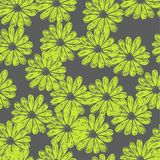 Vector seamless vector pattern with doodle flowers. Gray and lemon colors vector illustration