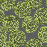 Vector seamless vector pattern with doodling round flowers. Gray and lemon colors vector illustration