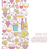 Vector seamless vertical background with linear wine bottle Royalty Free Stock Image